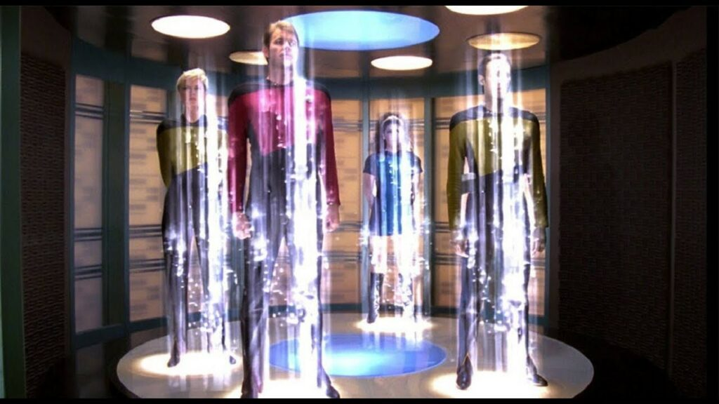 A crew of officers onboard the starship Enterprise are in the middle of teleporting