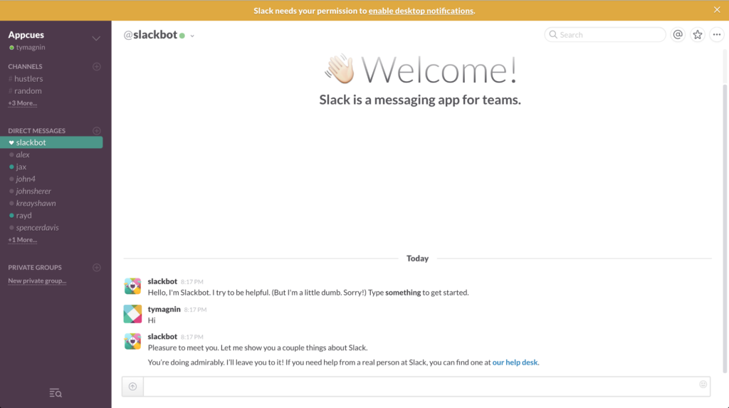 Welcome screen to a communications app