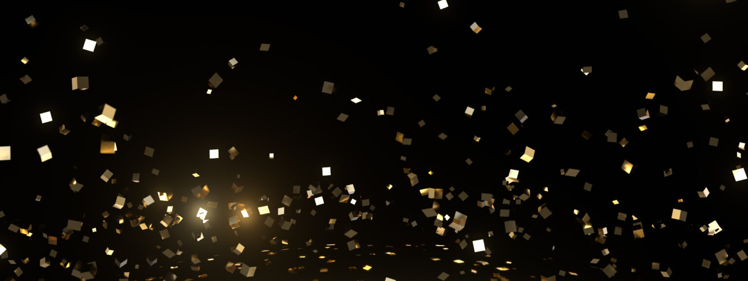 Gold cubes floating in a black void